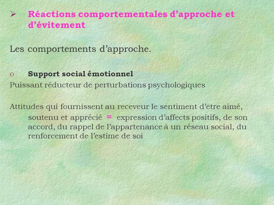 Réactions comportementales dapproche et dévitement Les comportements dapproche. o Support social émotionnel Puissant réducteur de perturbations psycho