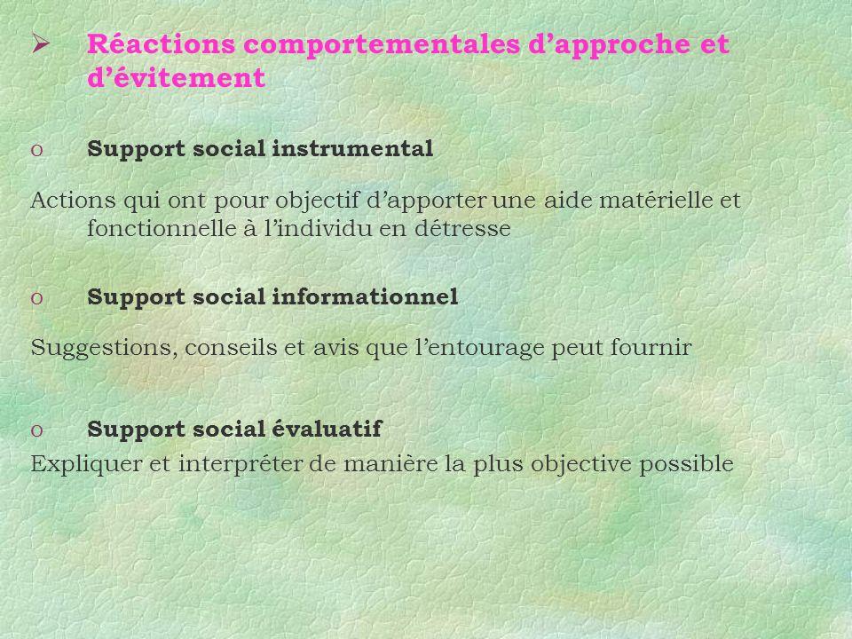 Réactions comportementales dapproche et dévitement o Support social instrumental Actions qui ont pour objectif dapporter une aide matérielle et foncti
