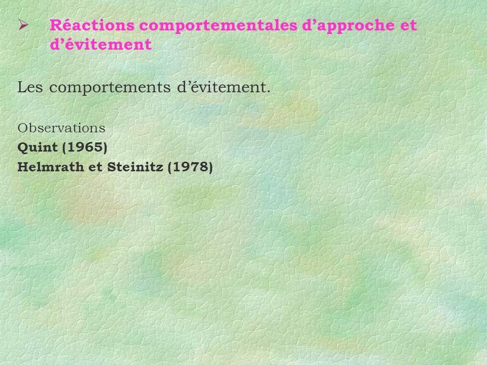 Réactions comportementales dapproche et dévitement Les comportements dévitement. Observations Quint (1965) Helmrath et Steinitz (1978)