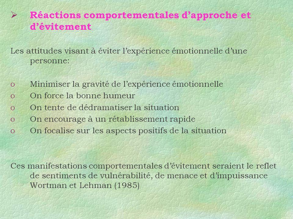 Réactions comportementales dapproche et dévitement Les attitudes visant à éviter lexpérience émotionnelle dune personne: oMinimiser la gravité de lexp