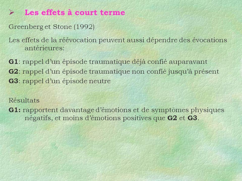 Les effets à court terme Greenberg et Stone (1992) Les effets de la réévocation peuvent aussi dépendre des évocations antérieures: G1 : rappel dun épi