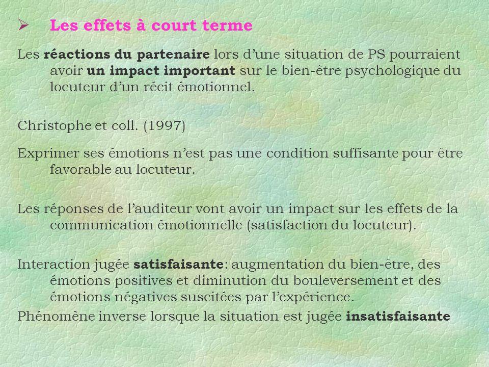 Les effets à court terme Les réactions du partenaire lors dune situation de PS pourraient avoir un impact important sur le bien-être psychologique du