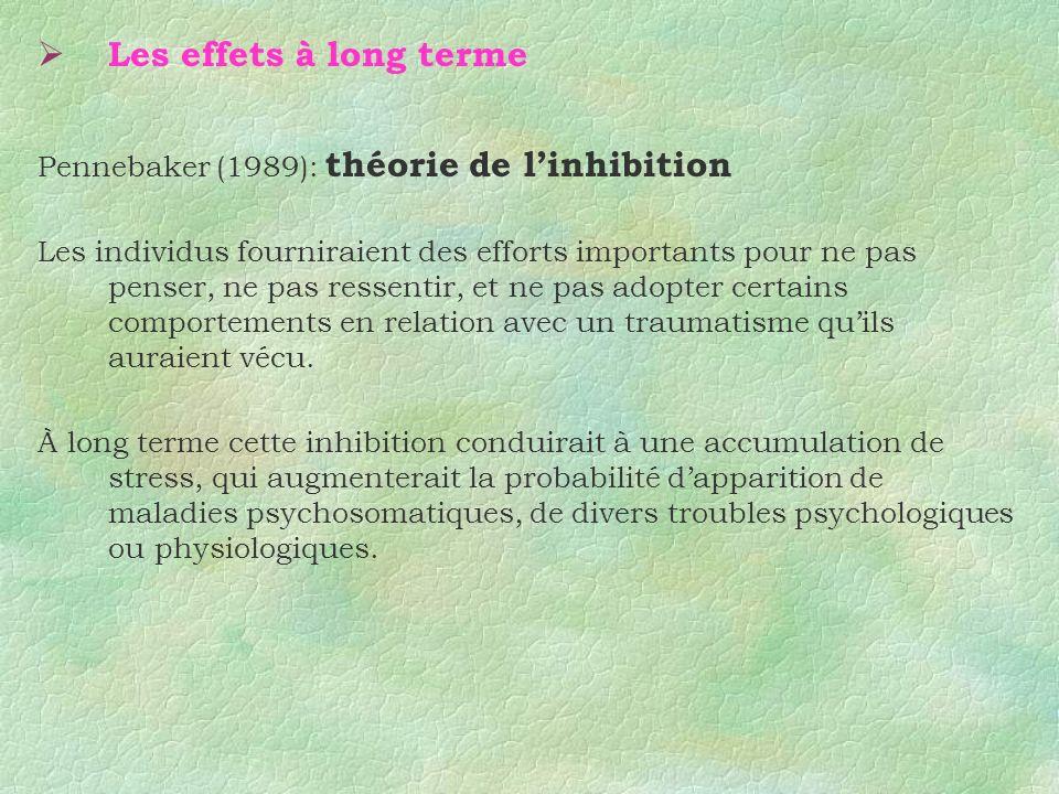 Les effets à long terme Pennebaker (1989): théorie de linhibition Les individus fourniraient des efforts importants pour ne pas penser, ne pas ressent