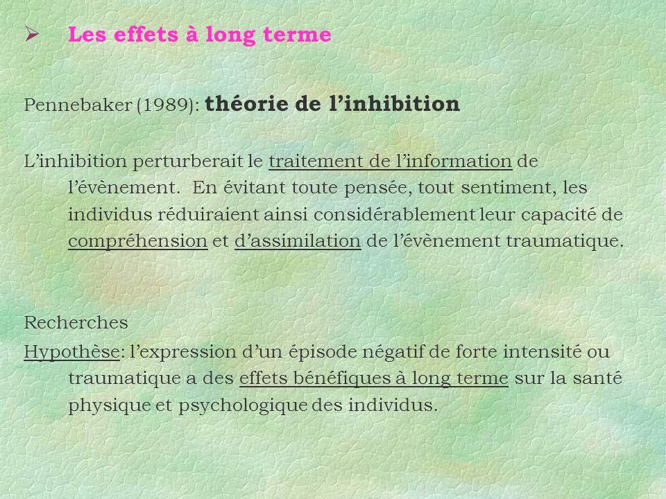 Les effets à long terme Pennebaker (1989): théorie de linhibition Linhibition perturberait le traitement de linformation de lévènement. En évitant tou