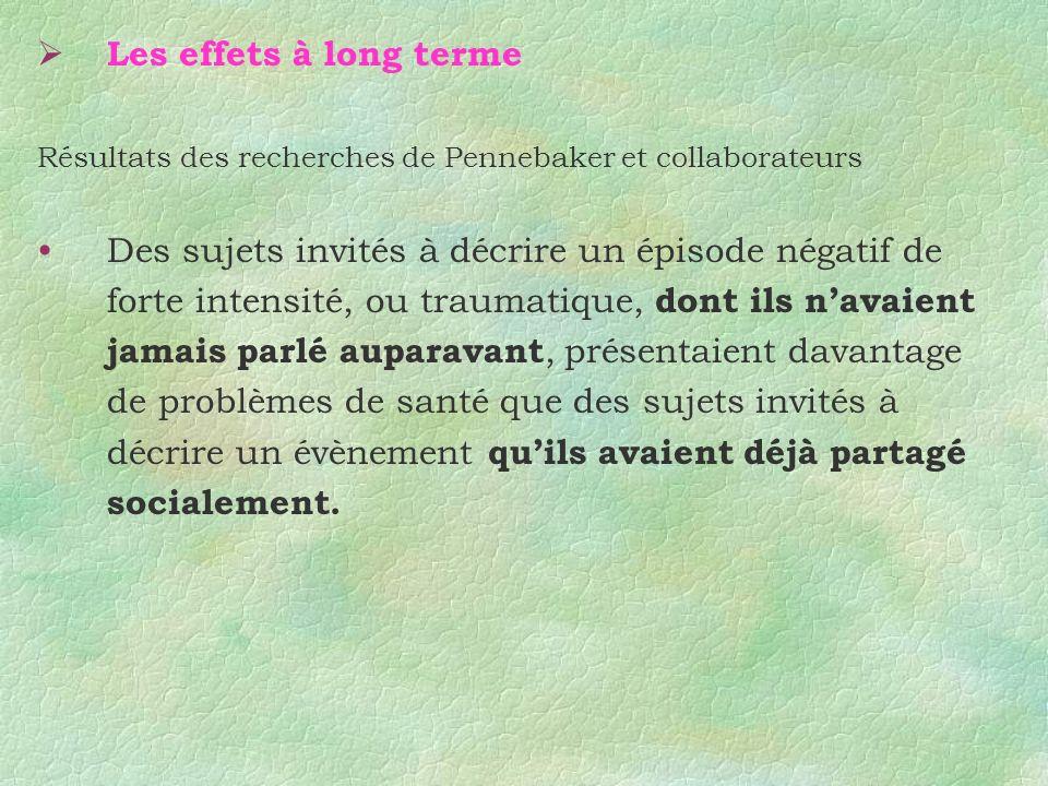 Les effets à long terme Résultats des recherches de Pennebaker et collaborateurs Des sujets invités à décrire un épisode négatif de forte intensité, o