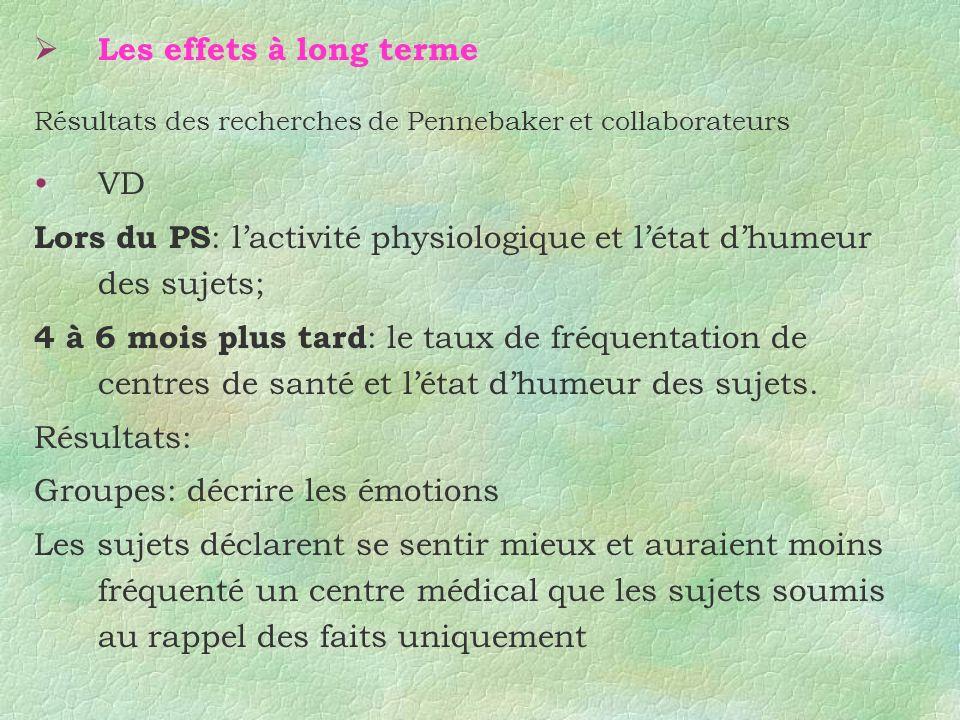 Les effets à long terme Résultats des recherches de Pennebaker et collaborateurs VD Lors du PS : lactivité physiologique et létat dhumeur des sujets;
