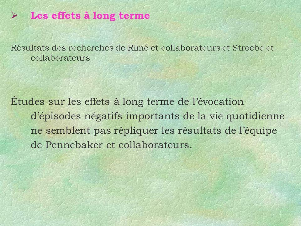 Les effets à long terme Résultats des recherches de Rimé et collaborateurs et Stroebe et collaborateurs Études sur les effets à long terme de lévocati