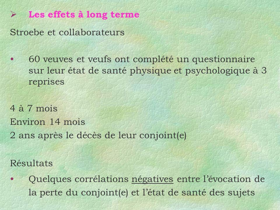 Les effets à long terme Stroebe et collaborateurs 60 veuves et veufs ont complété un questionnaire sur leur état de santé physique et psychologique à