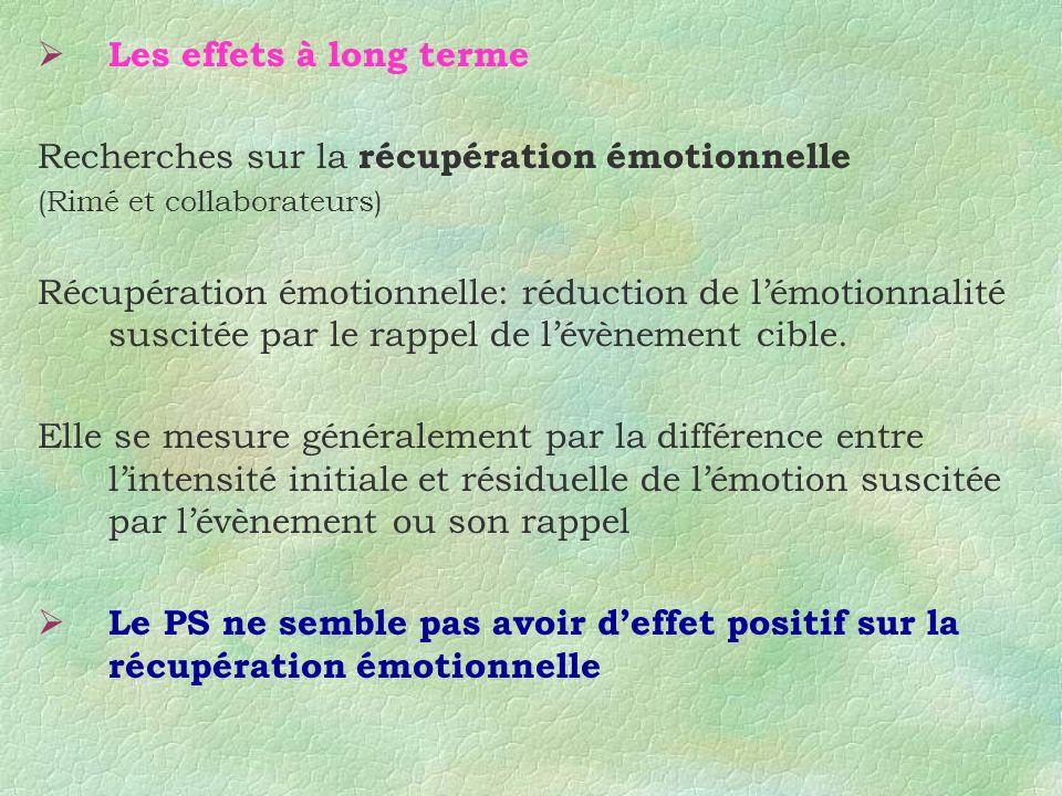 Les effets à long terme Recherches sur la récupération émotionnelle (Rimé et collaborateurs) Récupération émotionnelle: réduction de lémotionnalité su