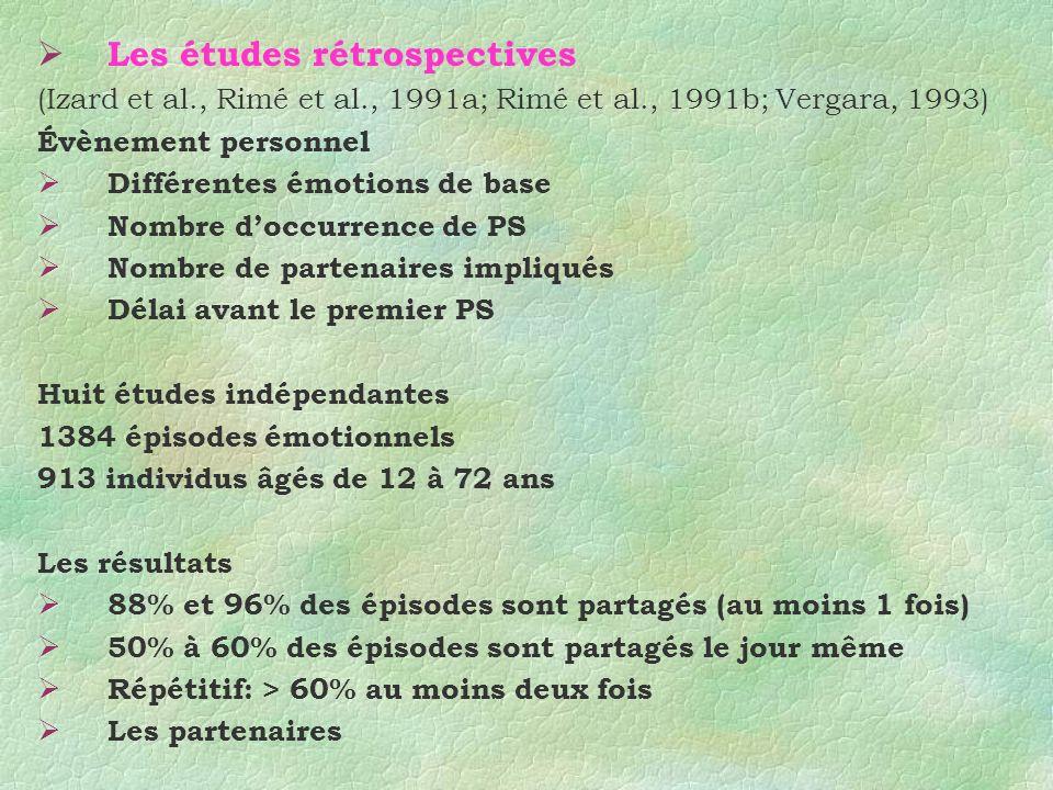 Les études rétrospectives (Izard et al., Rimé et al., 1991a; Rimé et al., 1991b; Vergara, 1993) Évènement personnel Différentes émotions de base Nombr