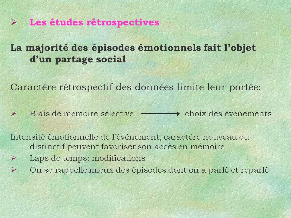 Les études rétrospectives La majorité des épisodes émotionnels fait lobjet dun partage social Caractère rétrospectif des données limite leur portée: B