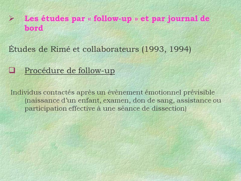 Les études par « follow-up » et par journal de bord Études de Rimé et collaborateurs (1993, 1994) Procédure de follow-up Individus contactés après un