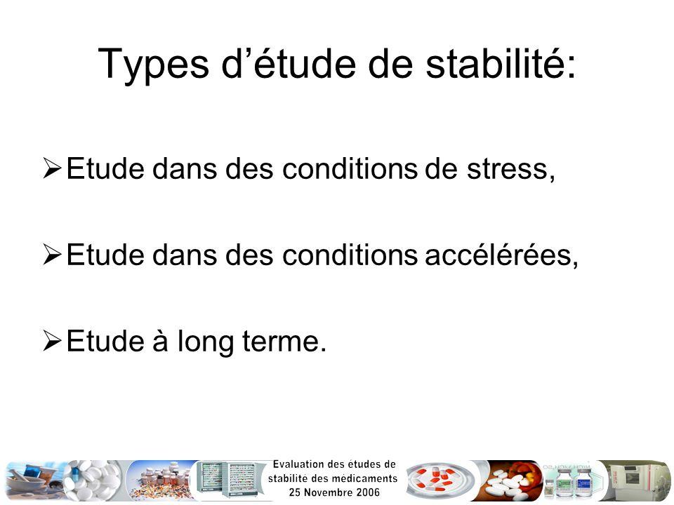 Types détude de stabilité: Etude dans des conditions de stress, Etude dans des conditions accélérées, Etude à long terme.