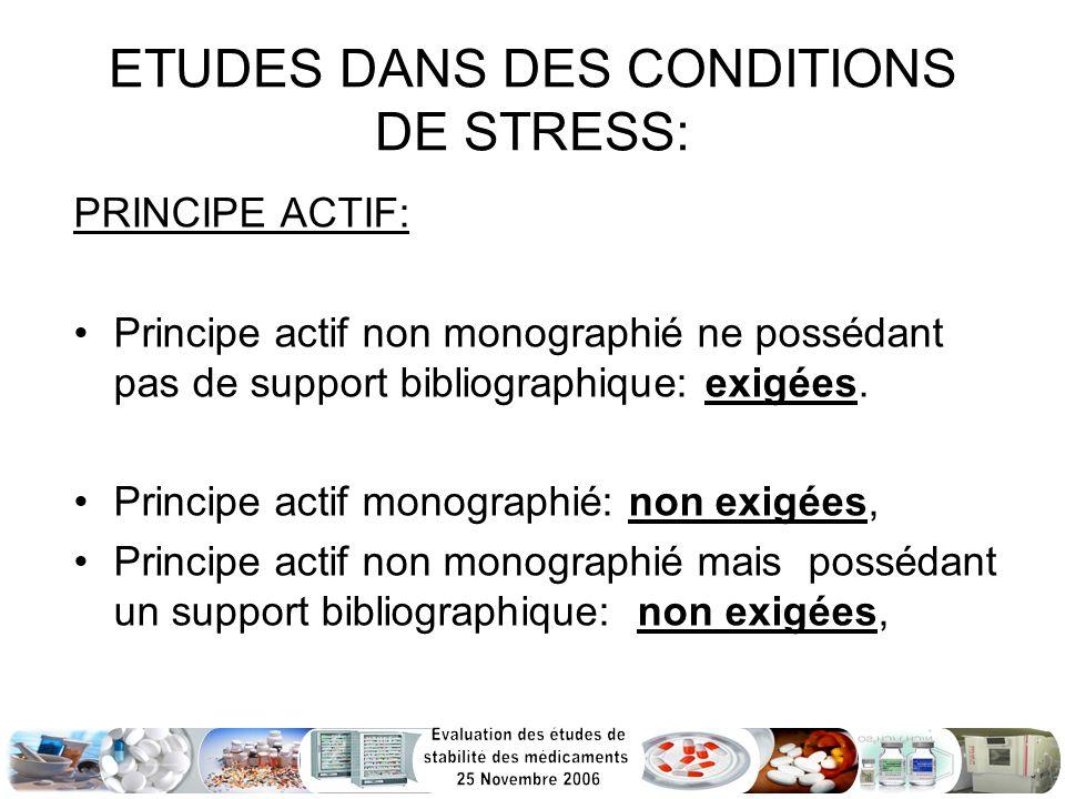 ETUDES DANS DES CONDITIONS DE STRESS: PRINCIPE ACTIF: Principe actif non monographié ne possédant pas de support bibliographique: exigées. Principe ac