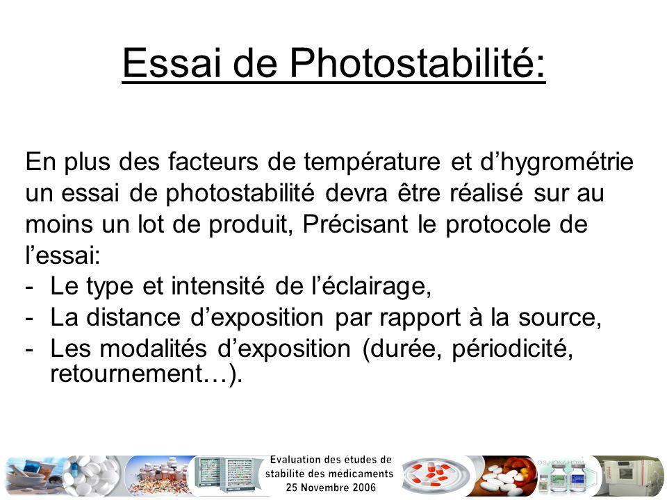 Essai de Photostabilité: En plus des facteurs de température et dhygrométrie un essai de photostabilité devra être réalisé sur au moins un lot de prod