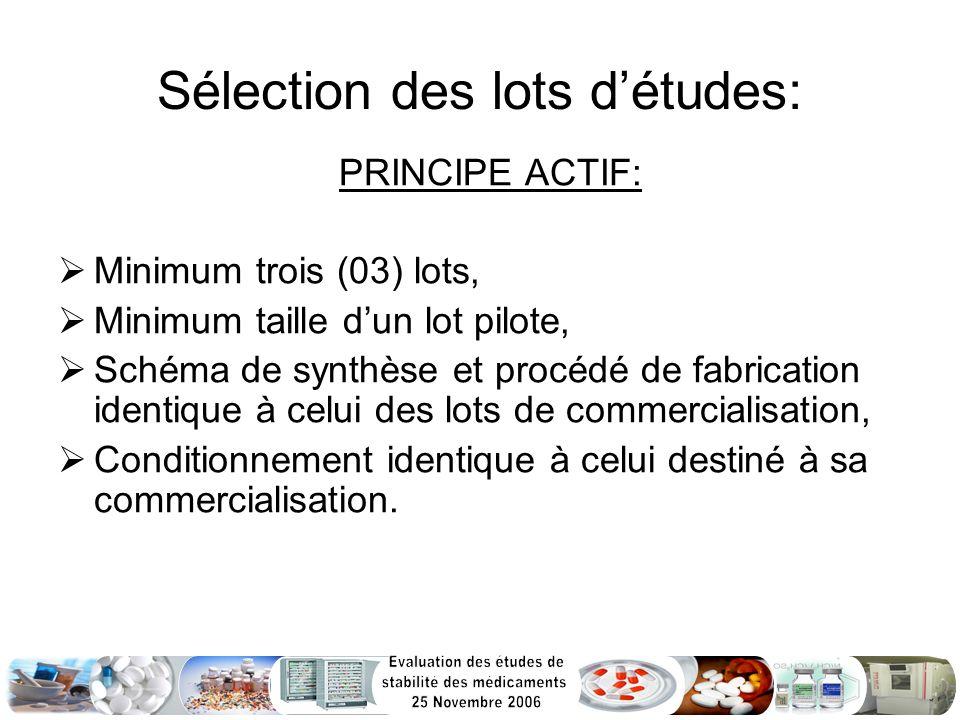 Sélection des lots détudes: PRINCIPE ACTIF: Minimum trois (03) lots, Minimum taille dun lot pilote, Schéma de synthèse et procédé de fabrication ident