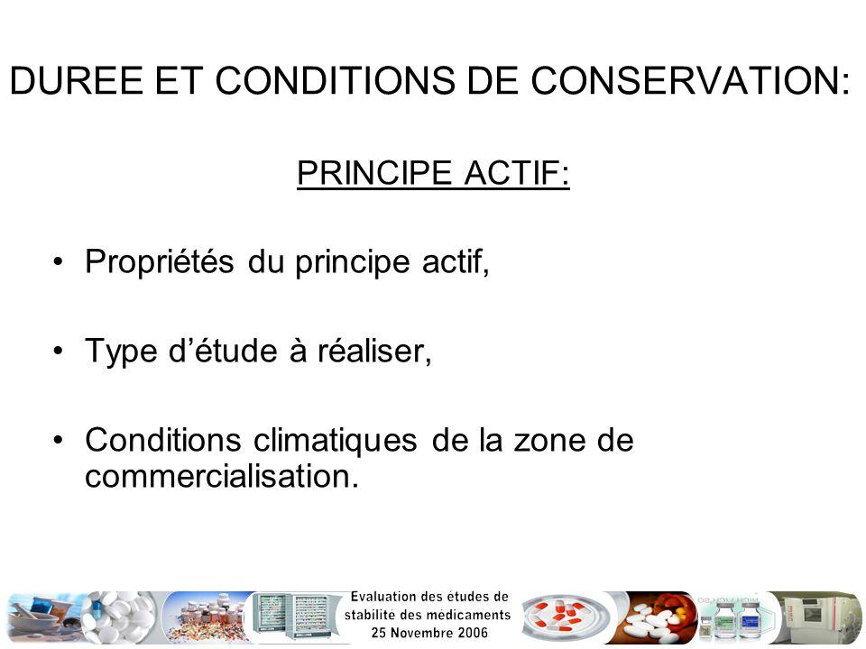 DUREE ET CONDITIONS DE CONSERVATION: PRINCIPE ACTIF: Propriétés du principe actif, Type détude à réaliser, Conditions climatiques de la zone de commer