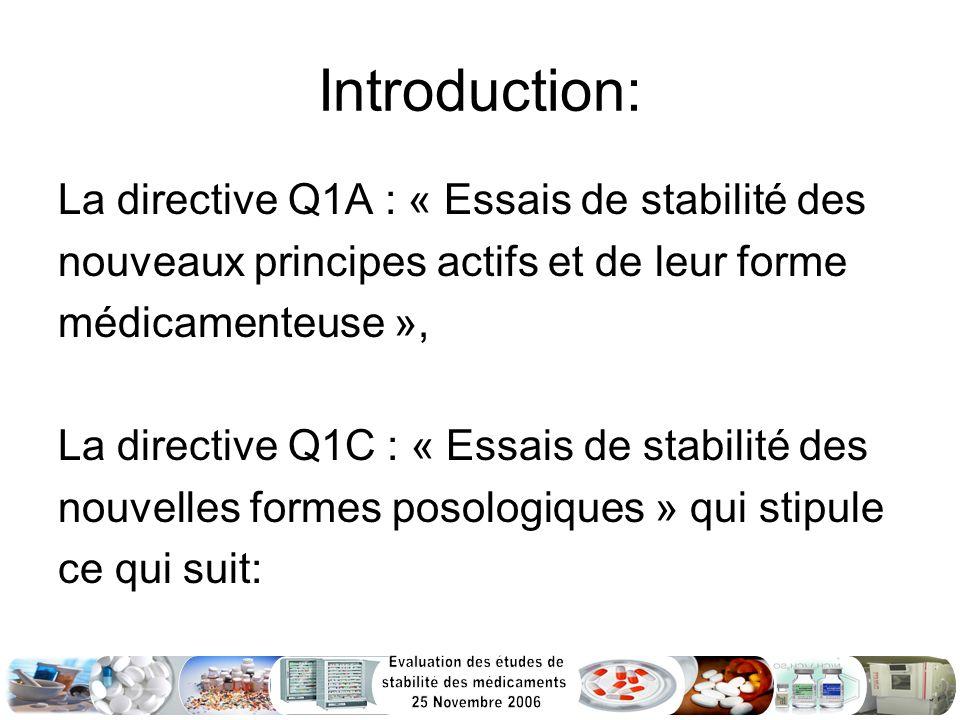 Introduction: La directive Q1A : « Essais de stabilité des nouveaux principes actifs et de leur forme médicamenteuse », La directive Q1C : « Essais de