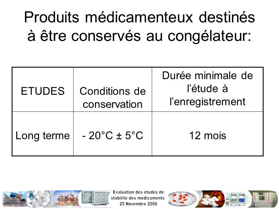 Produits médicamenteux destinés à être conservés au congélateur: ETUDESConditions de conservation Durée minimale de létude à lenregistrement Long term