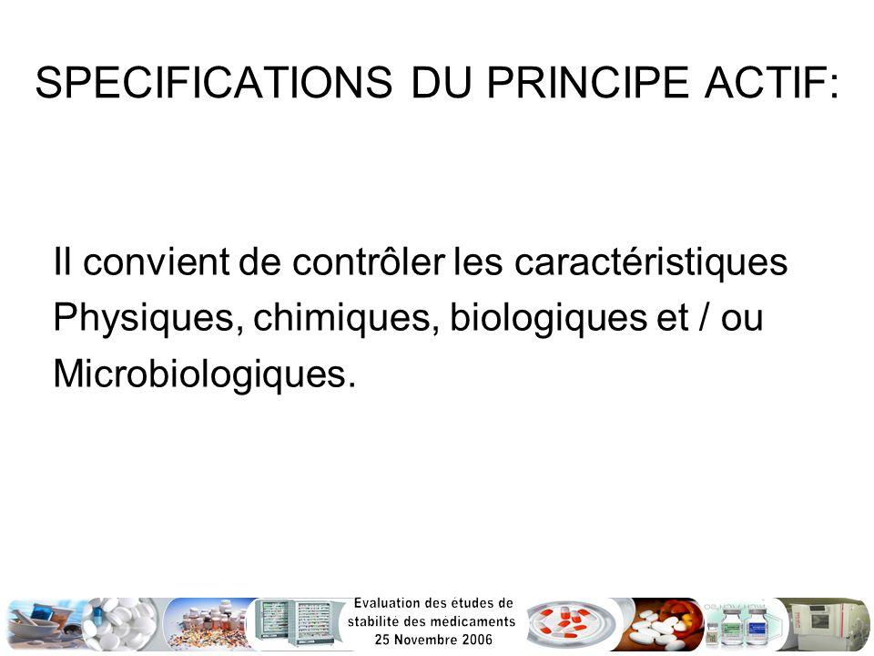 SPECIFICATIONS DU PRINCIPE ACTIF: Il convient de contrôler les caractéristiques Physiques, chimiques, biologiques et / ou Microbiologiques.