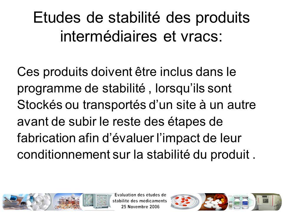 Etudes de stabilité des produits intermédiaires et vracs: Ces produits doivent être inclus dans le programme de stabilité, lorsquils sont Stockés ou t