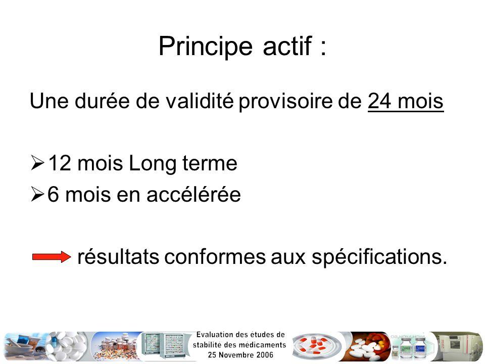 Principe actif : Une durée de validité provisoire de 24 mois 12 mois Long terme 6 mois en accélérée résultats conformes aux spécifications.
