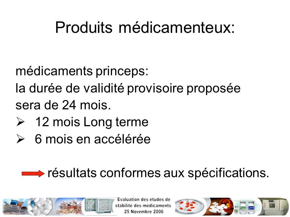 Produits médicamenteux: médicaments princeps: la durée de validité provisoire proposée sera de 24 mois. 12 mois Long terme 6 mois en accélérée résulta