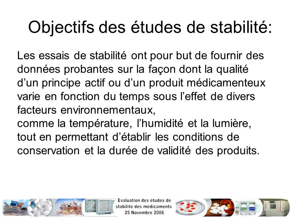 Objectifs des études de stabilité: Les essais de stabilité ont pour but de fournir des données probantes sur la façon dont la qualité dun principe act
