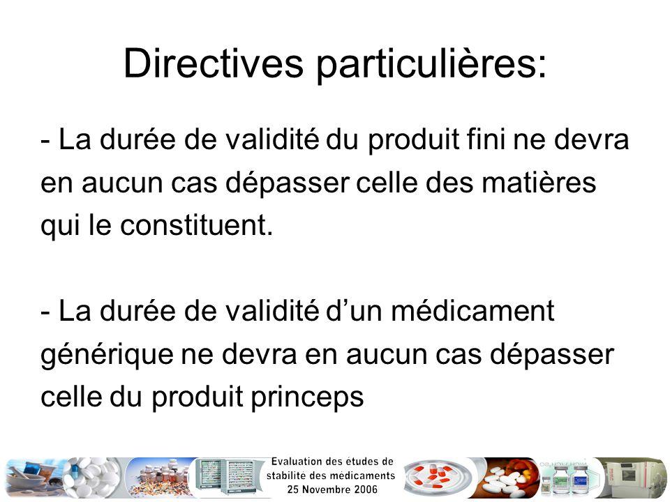 Directives particulières: - La durée de validité du produit fini ne devra en aucun cas dépasser celle des matières qui le constituent. - La durée de v