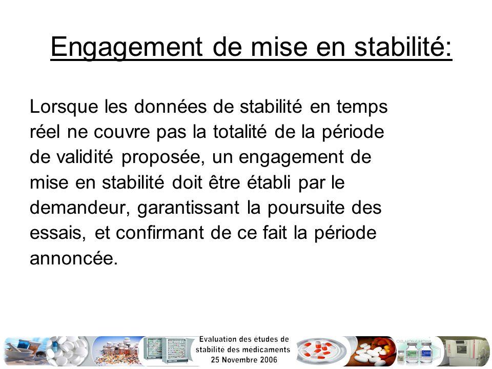 Engagement de mise en stabilité: Lorsque les données de stabilité en temps réel ne couvre pas la totalité de la période de validité proposée, un engag