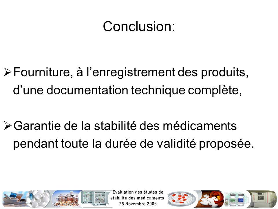 Conclusion: Fourniture, à lenregistrement des produits, dune documentation technique complète, Garantie de la stabilité des médicaments pendant toute