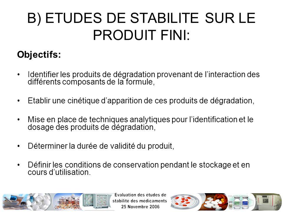 B) ETUDES DE STABILITE SUR LE PRODUIT FINI: Objectifs: Identifier les produits de dégradation provenant de linteraction des différents composants de l