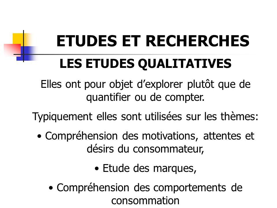 ETUDES ET RECHERCHES LES ETUDES QUALITATIVES Elles ont pour objet dexplorer plutôt que de quantifier ou de compter. Typiquement elles sont utilisées s
