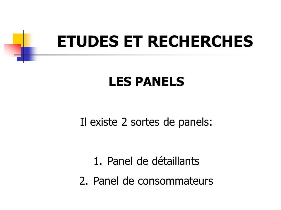 ETUDES ET RECHERCHES LES PANELS Il existe 2 sortes de panels: 1.Panel de détaillants 2.Panel de consommateurs