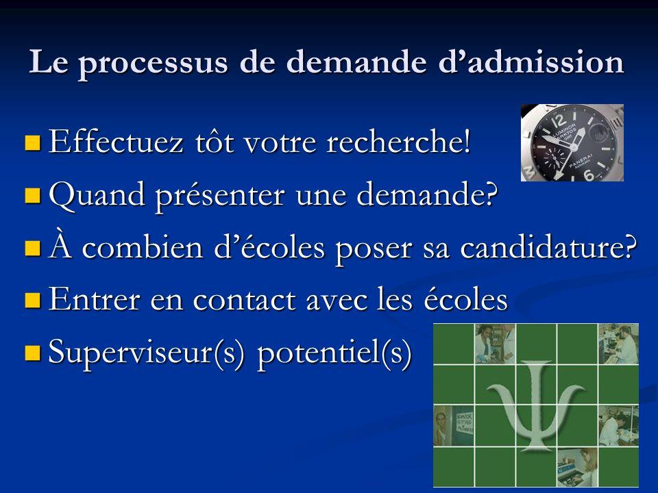 Le processus de demande dadmission Effectuez tôt votre recherche.