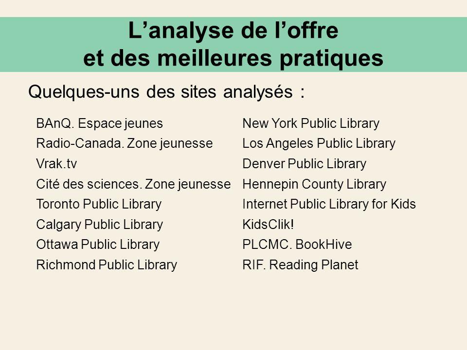 BAnQ. Espace jeunesNew York Public Library Radio-Canada. Zone jeunesseLos Angeles Public Library Vrak.tvDenver Public Library Cité des sciences. Zone