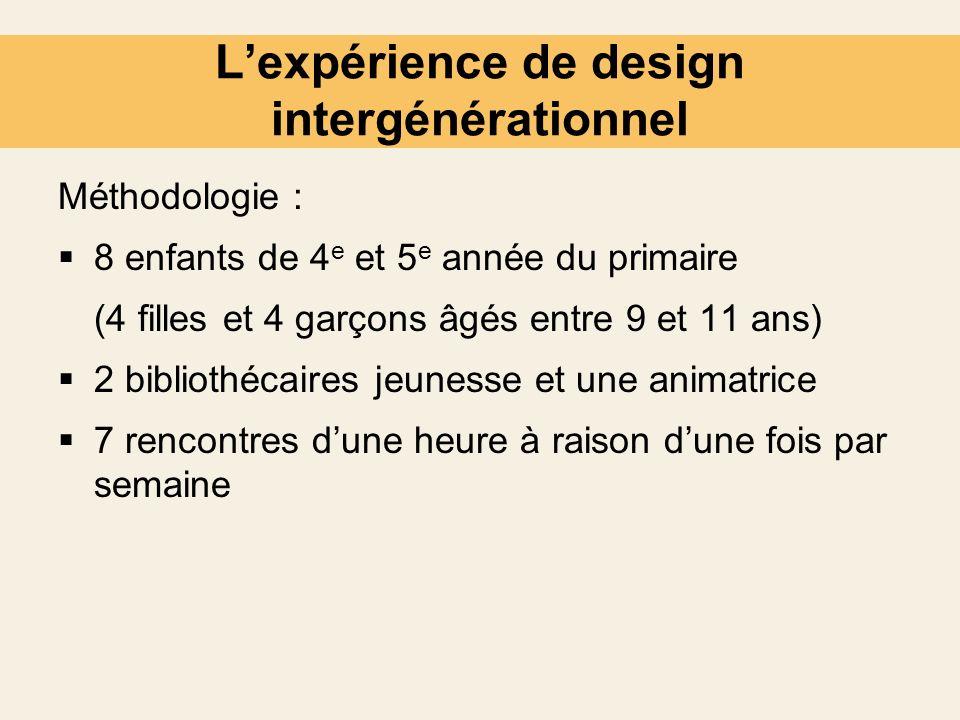 Lexpérience de design intergénérationnel Méthodologie : 8 enfants de 4 e et 5 e année du primaire (4 filles et 4 garçons âgés entre 9 et 11 ans) 2 bib