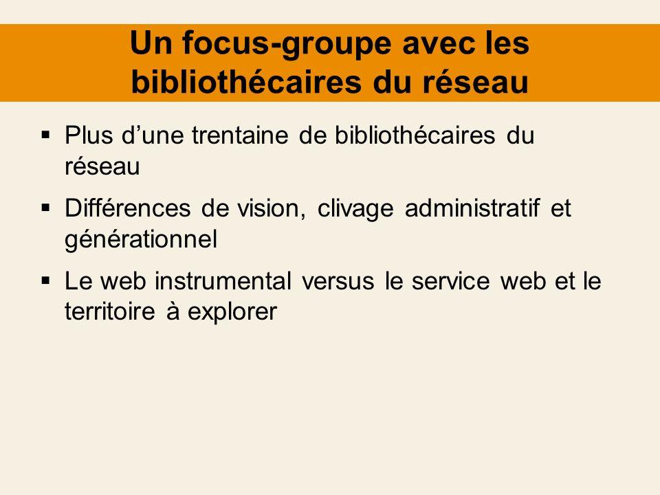 Un focus-groupe avec les bibliothécaires du réseau Plus dune trentaine de bibliothécaires du réseau Différences de vision, clivage administratif et gé