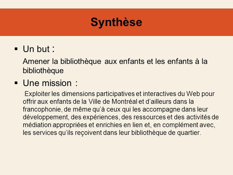 Synthèse Un but : Amener la bibliothèque aux enfants et les enfants à la bibliothèque Une mission : Exploiter les dimensions participatives et interac