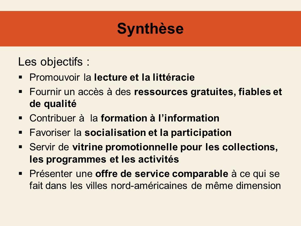 Synthèse Les objectifs : Promouvoir la lecture et la littéracie Fournir un accès à des ressources gratuites, fiables et de qualité Contribuer à la for