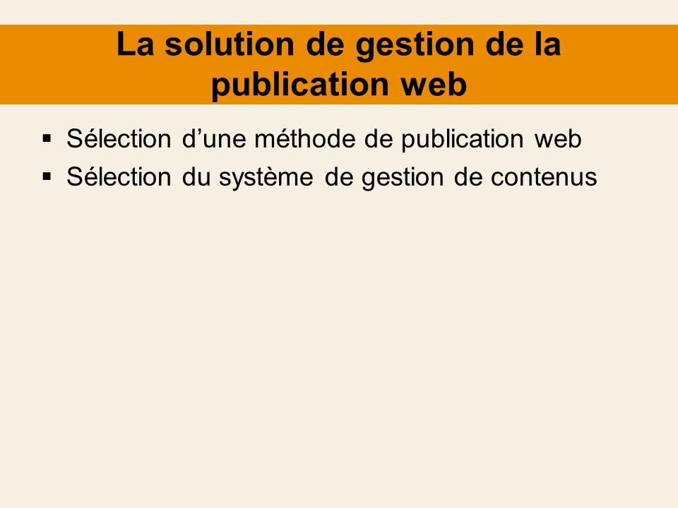 La solution de gestion de la publication web Sélection dune méthode de publication web Sélection du système de gestion de contenus