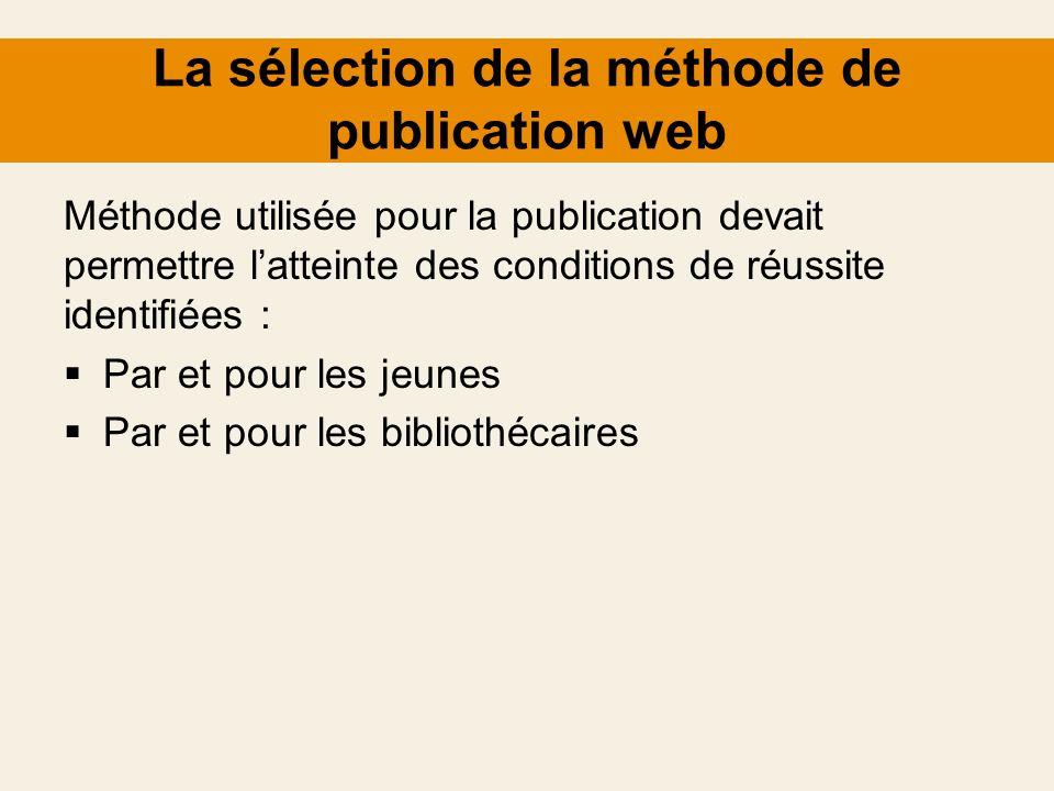 La sélection de la méthode de publication web Méthode utilisée pour la publication devait permettre latteinte des conditions de réussite identifiées :