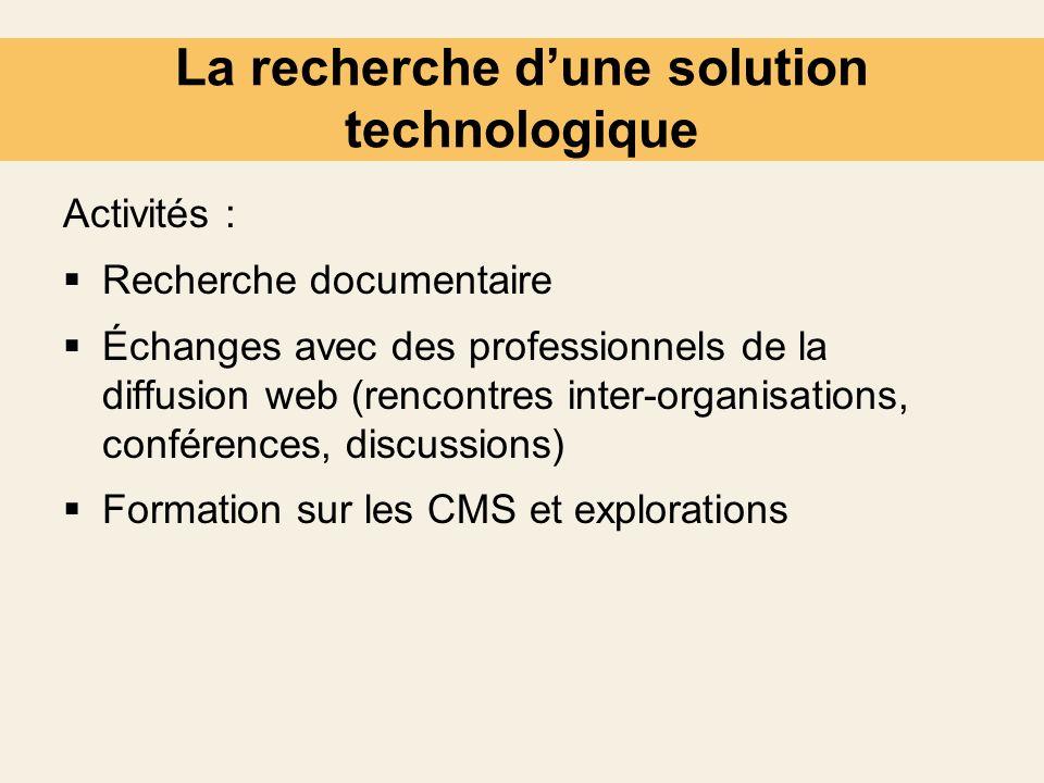 La recherche dune solution technologique Activités : Recherche documentaire Échanges avec des professionnels de la diffusion web (rencontres inter-org
