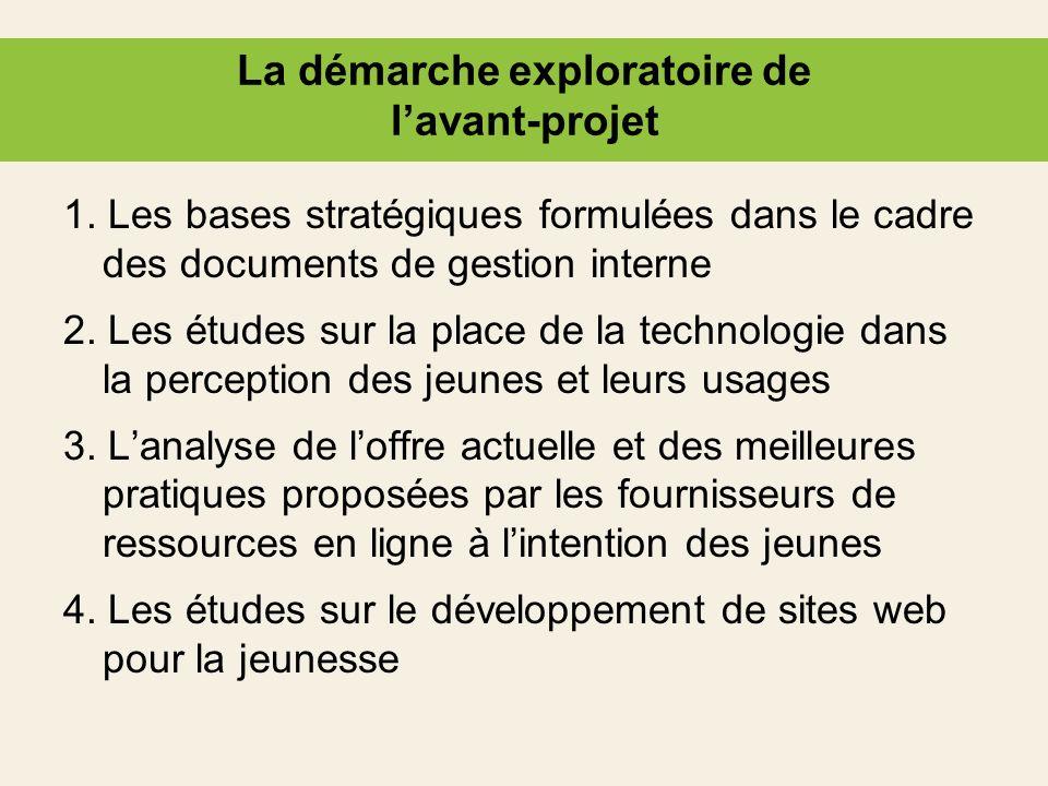 La démarche exploratoire de lavant-projet 1. Les bases stratégiques formulées dans le cadre des documents de gestion interne 2. Les études sur la plac