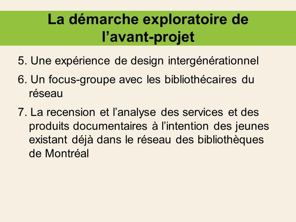 La démarche exploratoire de lavant-projet 5. Une expérience de design intergénérationnel 6. Un focus-groupe avec les bibliothécaires du réseau 7. La r