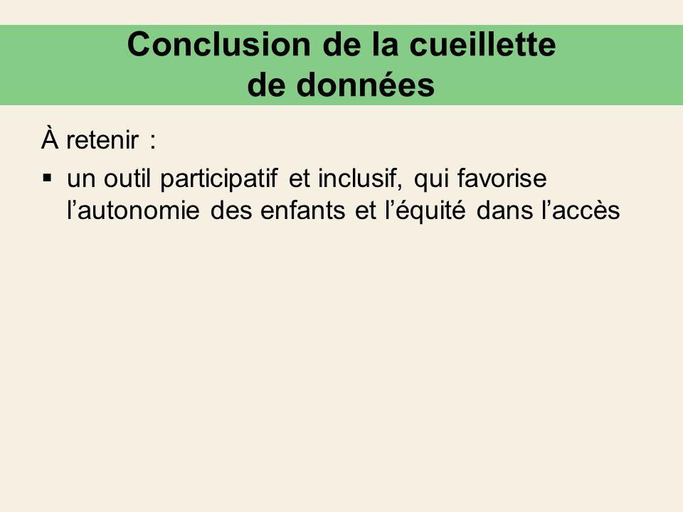 Conclusion de la cueillette de données À retenir : un outil participatif et inclusif, qui favorise lautonomie des enfants et léquité dans laccès