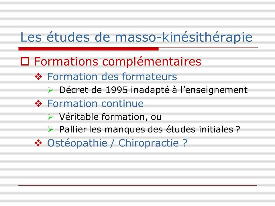 Les études de masso-kinésithérapie Formations complémentaires Formation des formateurs Décret de 1995 inadapté à lenseignement Formation continue Véri