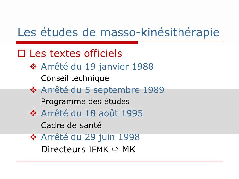 Les études de masso-kinésithérapie Les textes officiels Arrêté du 19 janvier 1988 Conseil technique Arrêté du 5 septembre 1989 Programme des études Ar