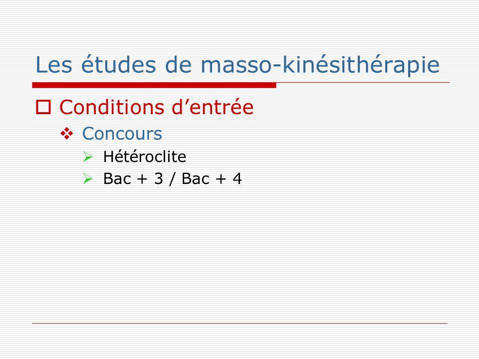 Les études de masso-kinésithérapie Conditions dentrée Concours Hétéroclite Bac + 3 / Bac + 4
