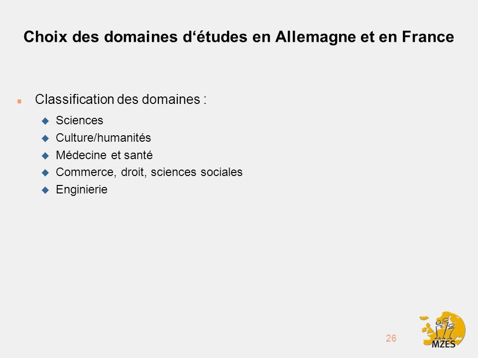 26 Choix des domaines détudes en Allemagne et en France n Classification des domaines : u Sciences u Culture/humanités u Médecine et santé u Commerce, droit, sciences sociales u Enginierie